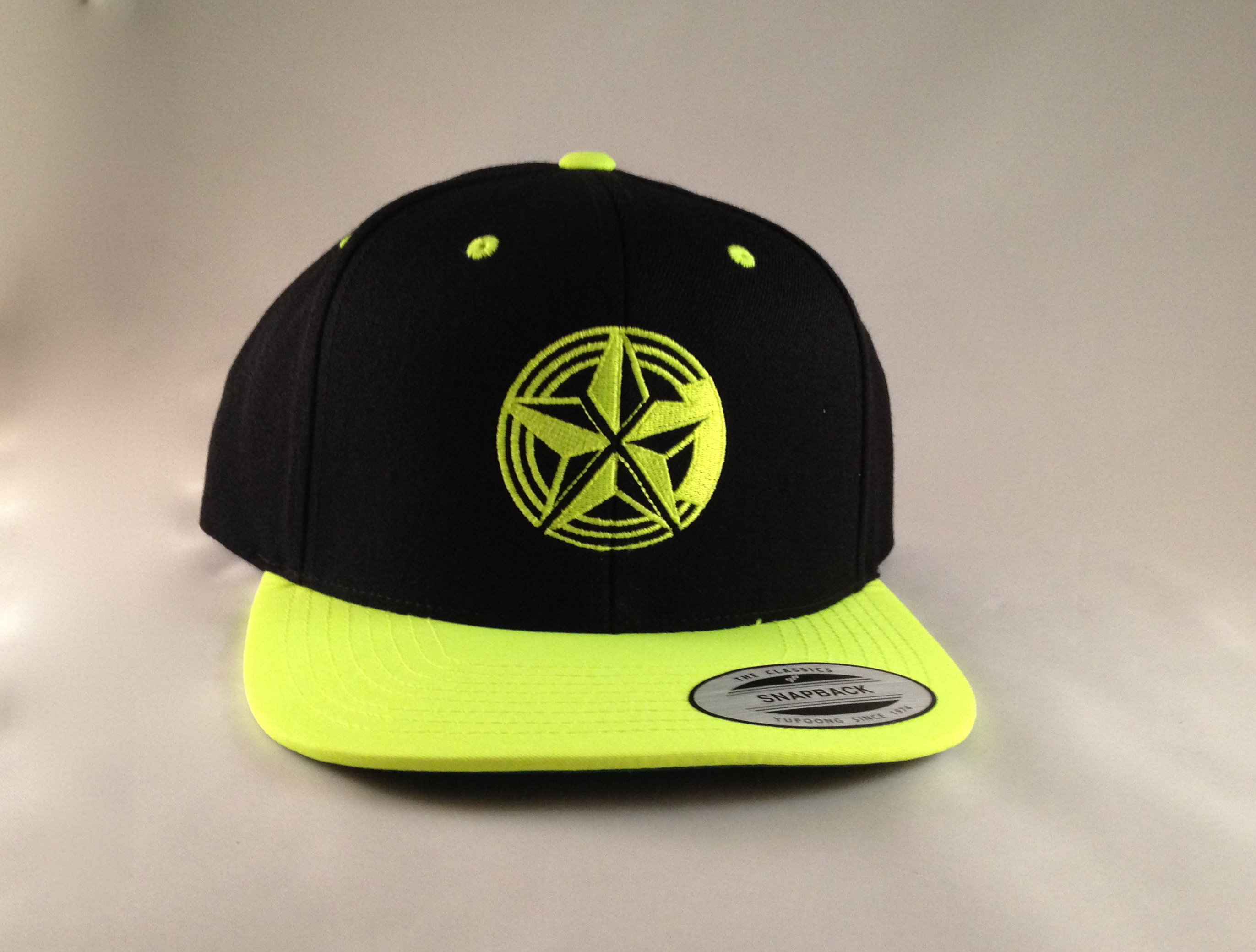 Fluorescent Yellow Snap Back Logo Cap